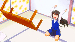 Manga girl flipping table